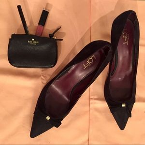 Black Suede Ann Taylor LOFT Heels Lightly Worn